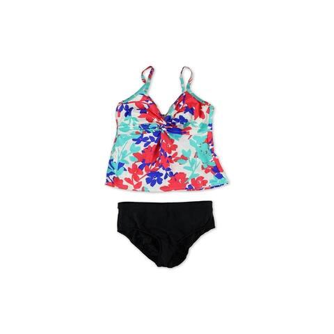 Swim Solutions Womens Tahiti Breeze Twist Brief 2 Piece Tankini, Blue, 14
