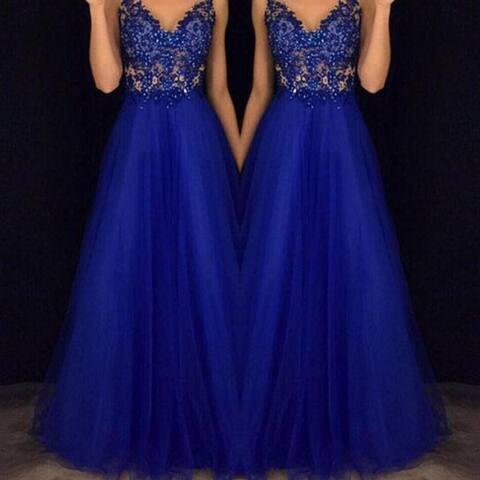 Elegant Halter Beaded Prom Gown Blue Chiffon Dress