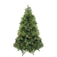 "6.5' x 49"" Pre-Lit Cashmere Mixed Pine Artificial Christmas Tree - Warm Clear LED Lights - green"