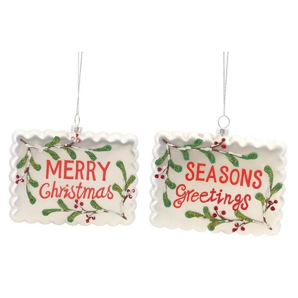 """Pack of 12 Scalloped Edge Holiday Salutation Christmas Ornaments 3.5"""" - WHITE"""