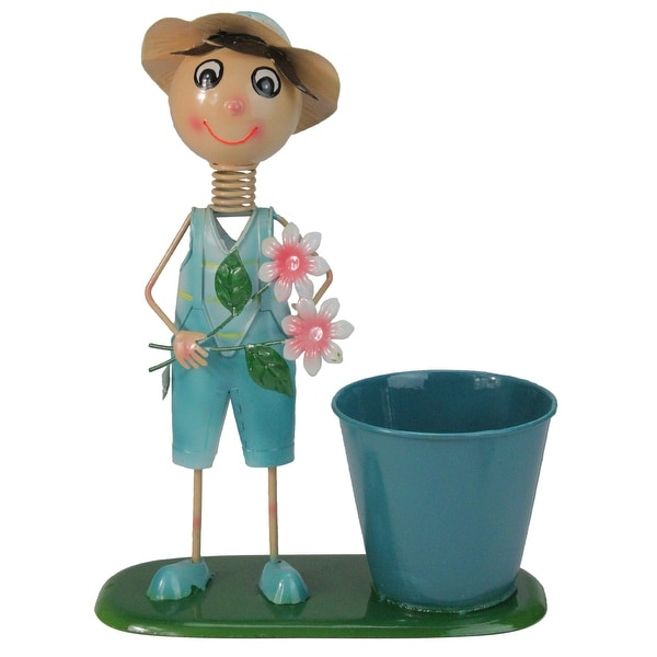 """13.5"""" Blue Boy with Overalls Pink Flowers Spring Outdoor Garden Planter - N/A"""