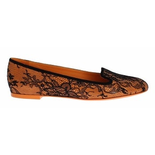 Dolce & Gabbana Orange Leather Lace Flat Loafers Shoes - 39
