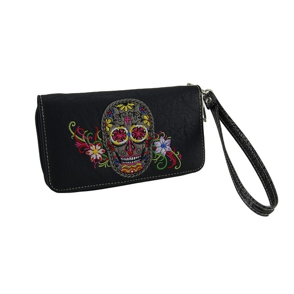 Embroidered Sugar Skull Zippered Wallet w/Removable Wrist Strap