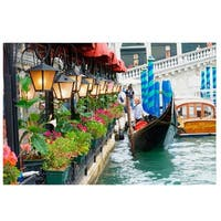 """LED Lighted Floral Shop with Gondola Ride Canvas Wall Art 11.75"""" x 15.75"""" - Green"""