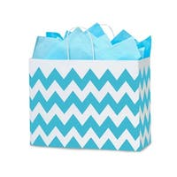 """Pack Of 25, Vogue 16 X 6 X 12.5"""" Chevron Stripe Turquoise Blue Recycled Shopping Bags W/White Paper Twist Handles Made In Usa"""
