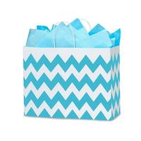 """Pack Of 250, Vogue 16 X 6 X 12.5"""" Chevron Stripe Turquoise Blue Recycled Shopping Bags W/White Paper Twist Handles Made In Usa"""