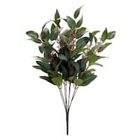 Club Pack of 12 Green Glittering Finish Artificial Christmas Leaves and Bud Bush Sprays 23.5""