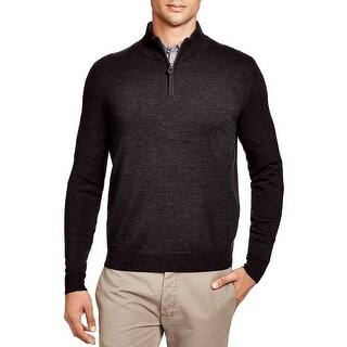 Bloomingdales Mens 2-Ply Cashmere Half Zip Mock Neck Sweater Small Dark Charcoal
