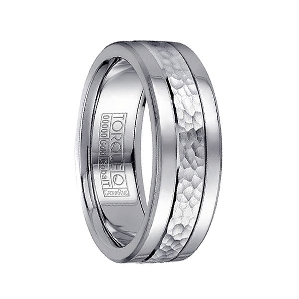 14k Hammered White Gold Inlaid Cobalt Men's Wedding Band with Dual Grooves by Crown Ring - 7.5mm