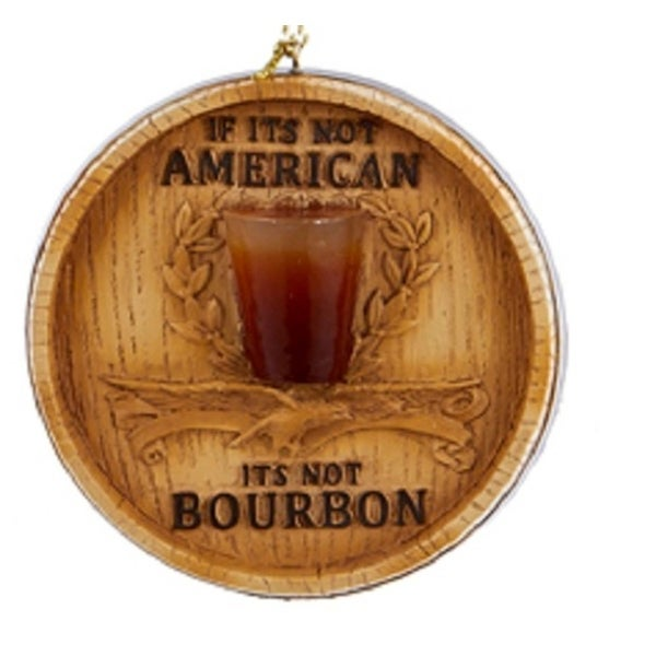 """3"""" Happy Hour Branded Bourbon Barrel Lid with Glass Decorative Christmas Ornament - brown"""
