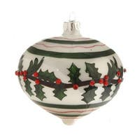 "3.5"" Glossy White, Red, and Green Jeweled Holly Glass Onion Christmas Ornament - RED"