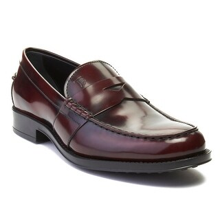 Tod's Men's Leather Loafer Shoes Maroon