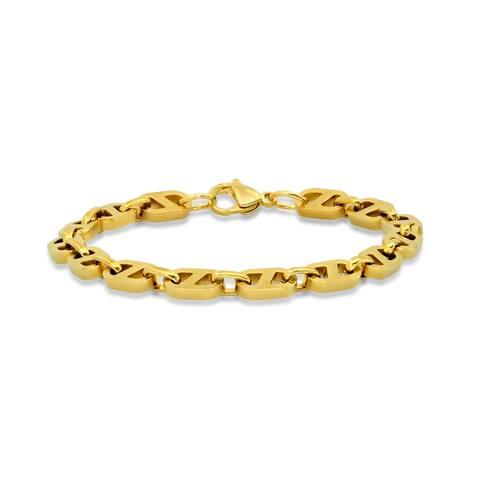 Men's 18k gold plated stainless steel mariner bracelet