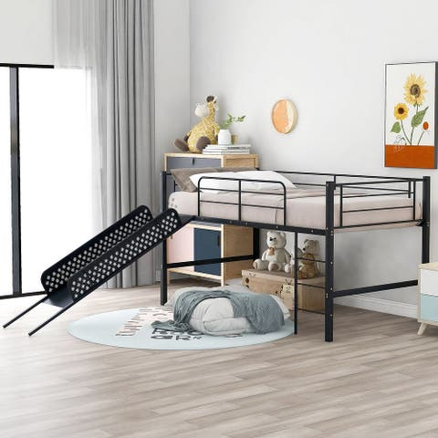 Twin Loft Beds for Kids, Metal Loft Bed with Slide, No Box Spring Required