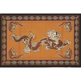 Handmade Cotton Asian Dragon Tapestry Tablecloth Coverlet Bedspread Twin(70x106) Full(88x106)