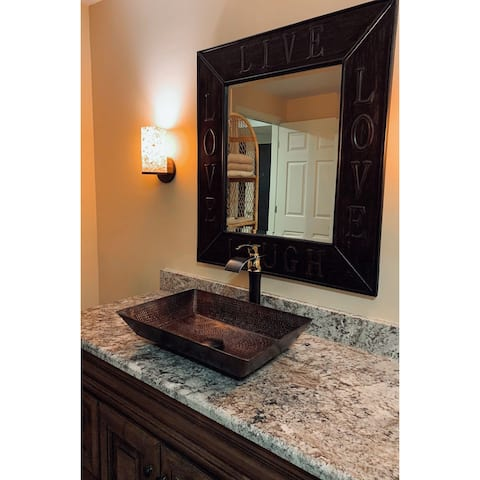 Premier Copper Products VREC2014DB 20-inch Rectangle Vessel Hammered Copper Sink