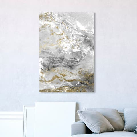 Oliver Gal 'Grazie Mille' Abstract Wall Art Canvas Print Crystals - Gray, Gold