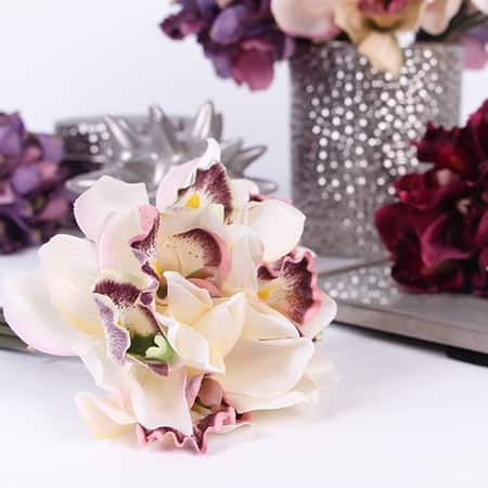 """FloralGoods Silk 7 Cymbidium Orchid Bouquet in 5 Various Colors 9"""" Tall"""