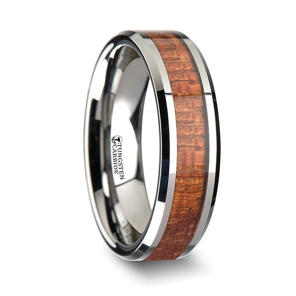 THORSTEN - KHAYA Tungsten Band with Polished Bevels and Exotic Mahogany Hard Wood Inlay - 6mm