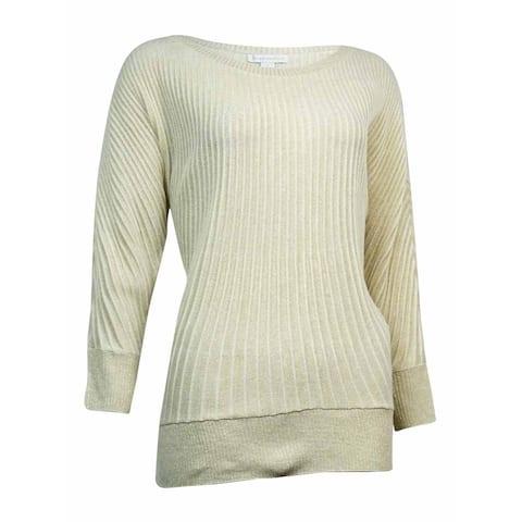 Charter Club Women's Metallic Ribbed Dolman Sweater - Gold Metal Combo