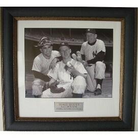 Yogi Berra unsigned NY Yankees 11X14 Vintage B&W Photo Leather Framed w/ Whitey Ford & Mickey Mantle