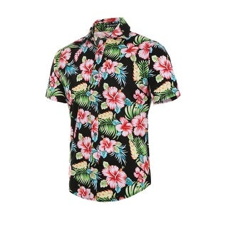 Men Slim Fit Floral Print Short Sleeve Button Down Beach Hawaiian Shirt