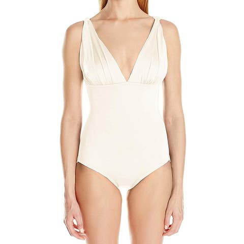 Carmen Marc Valvo White Ivory Womens Size 10 One-Piece Swimwear w