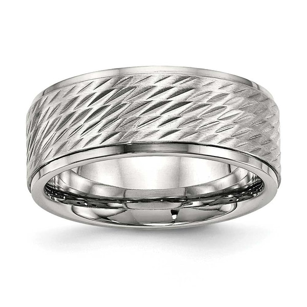 Stainless Steel Polished with Brushed Center Ridged Edge Diamond Cut Ring (9 mm) - Sizes 8 - 14