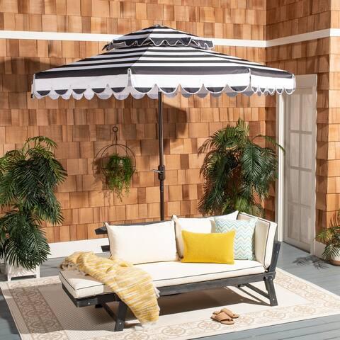 Safavieh Outdoor Living Vienna 9Ft Round Double Top Crank Umbrella