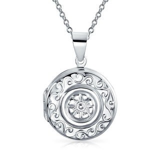 Bling Jewelry Sailors Embossed Flower .925 Silver Round Locket Pendant Necklace 18 Inch