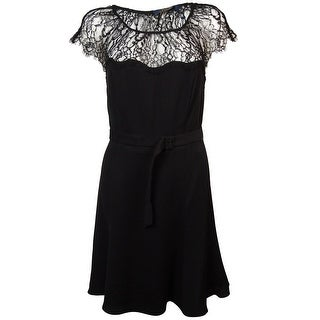 Polo Ralph Lauren Women's Belted Illusion Lace A-Line Dress