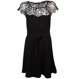 Polo Ralph Lauren Women's Belted Illusion Lace A-Line Dress - polo black