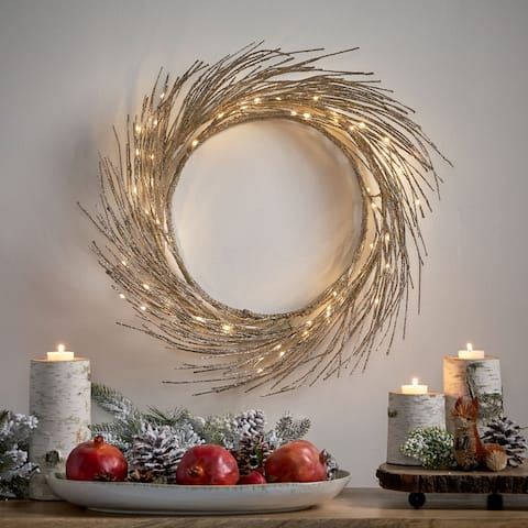 "Triple 24"" Pre-lit Warm White LED Wreath by Christopher Knight Home - Champagne Glitter - 24.00"" L x 24.00"" W x 4.00"" H"