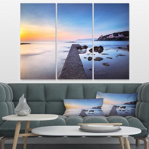 Designart Castiglioncello Bay Concrete Pier Seascape Canvas Art Print 36x28 3 Panels On Sale Overstock 32979381