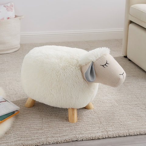 Taylor & Olive Cream Faux Fur Sheep Stool