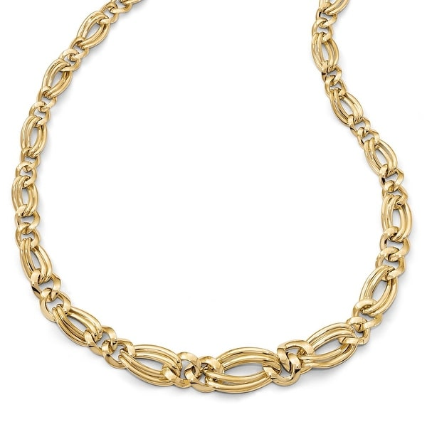 Italian 14k Gold Polished Fancy Link Necklace - 17.5 inches