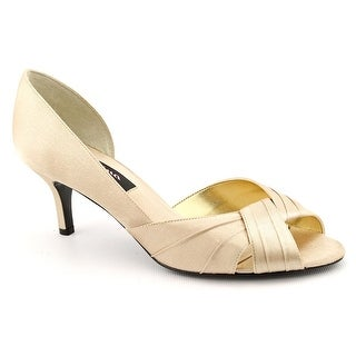 Nina Culver Women  Peep-Toe Canvas Gold Heels