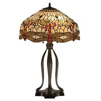 "Meyda Tiffany 17500 30.5"" H Tiffany Hanginghead Dragonfly Table Lamp - beige flame - n/a"