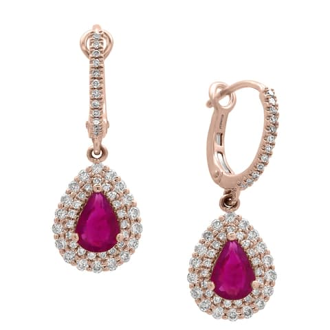 Effy Jewelry Pear-Shaped Ruby Drop Earrings with Diamonds in 14K Rose Gold, 2.22 TWC - Red