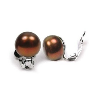 Bling Jewelry Sterling Silver Chocolate Button Freshwater Cultured Pearl Clip On Earrings