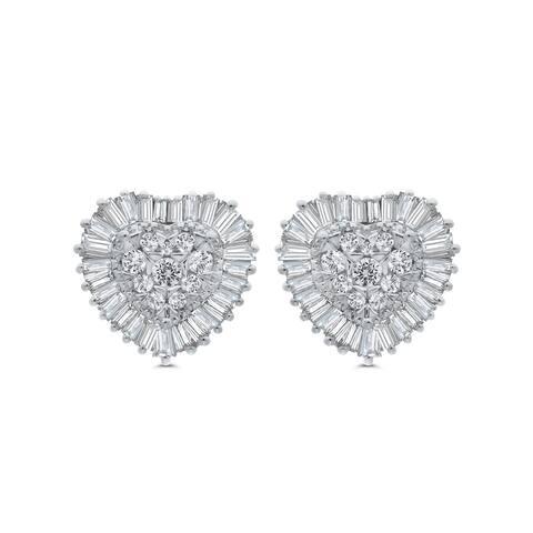 10K White Gold 7/8ct TDW Round and Baguette Diamond Heart Earrings (I-J, I1)