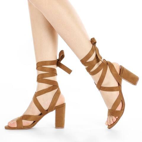 Women Open Toe Crisscross Lace Up Chunky Heel Sandals