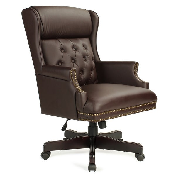 Exceptionnel Belleze Wingback Traditional High Back Classic Button Tufted Styling Office Leather  Chair With Mahogany Wood Base