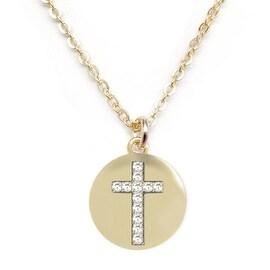 Julieta Jewelry Cross Disc CZ Charm Necklace