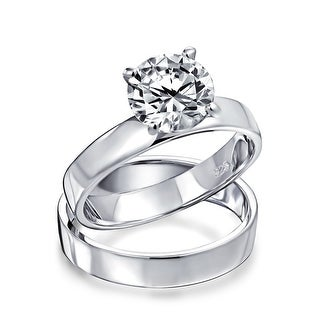 Link to 2CT Solitaire Band AAA CZ Engagement Wedding Ring Set Sterling Silver Similar Items in Rings