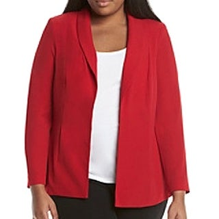 Calvin Klein NEW Red Women's Size 18W Plus Solid Open-Front Jacket