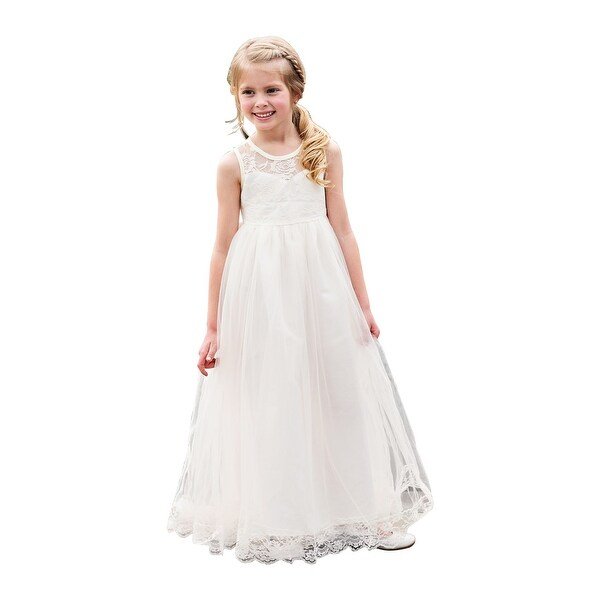 7901c1410b30d Shop Little Girls Ivory Lace Back Bow Floor Length Scarlett Flower Girl  Dress - Free Shipping Today - Overstock - 23079512