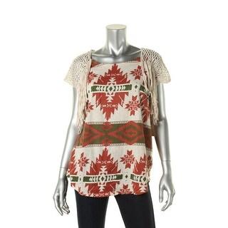 Denim & Supply Ralph Lauren Womens Printed Fringe Pullover Top