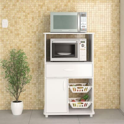 Boahaus Grenoble Kitchen Storage Cabinet, White, 1 Drawer and Microwave Stand