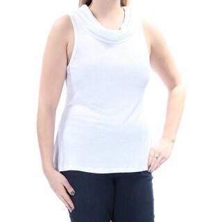 ULTRA FLIRT $14 Womens 1549 White Cowl Neck Sleeveless Casual Top Juniors L B+B